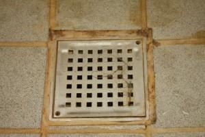 Der kan gemme sig meget hår under risten i badeværelset - også selv om det ovenfor er mindre tydeligt end her.